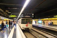 Barcelona tunnelbana Fotografering för Bildbyråer