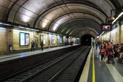 Barcelona tunnelbanastation Arkivfoto