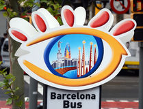 Barcelona turistic bus sign. Barcelona bus Touristic is bus service that shows the city with an audio guide Royalty Free Stock Photography
