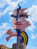 barcelona twarz Roy Lichtenstein rzeźba przy quay Czerwiec 08, 2016 Zdjęcia Stock