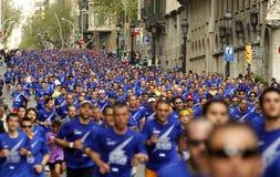Barcelona ulica tłocząca się atlet biegać fotografia stock