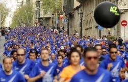 Barcelona ulica tłocząca się atlet biegać obraz stock