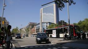 Barcelona Urban Scene Vehicles and Pedestrians Royalty Free Stock Photos