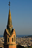 Barcelona view. From the Park Guell trough the Gaudi museum steeple Royalty Free Stock Image