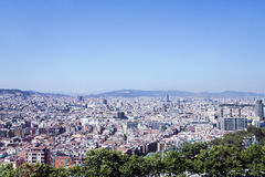 Barcelona - view aerial from the hill of Montjuic Royalty Free Stock Images