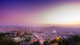 Barcelona view from Carmelo bunker. Urban landscape of the city of Barcelona royalty free stock image