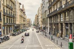 Barcelona, view of the central street of Spanish Catalonia. Afte Royalty Free Stock Images