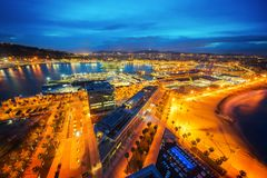 Barcelona city. Barcelona view for city, building, beach, harbour and sea from roof top of Hotel in Barcelona city, Spain royalty free stock photo