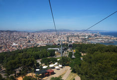 Barcelona. View of the city from Montjuic funicular. Royalty Free Stock Photography
