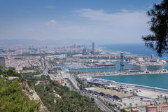 Barcelona View_City_Sea Royalty Free Stock Photography
