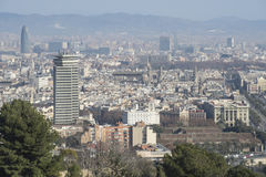 Barcelona view. From montjuic. Many of the most famous buildings of the city appear on this view Royalty Free Stock Images