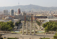 Barcelona view from Montjuic mountain Stock Photo