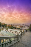 Barcelona view from Montjuic. Barcelona, Spain. View from Catalunya National Museum of Art royalty free stock images