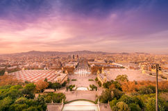 Barcelona  view from Montjuic at sunset. Barcelona view from Montjuic mountain. Spain Royalty Free Stock Photography