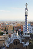 Barcelona view from the Parc Guell. Park Guell architecture and city view. Masterpiece of modernism architect Antoni Gaudi. Barcelona, Spain Royalty Free Stock Images
