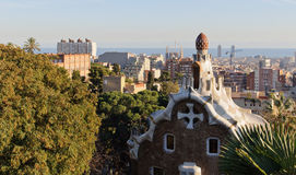Barcelona view from the Parc Guell. Park Guell architecture and city view. Masterpiece of modernism architect Antoni Gaudi. Barcelona, Spain Stock Photography