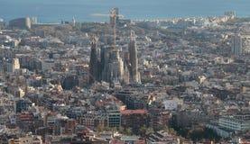 Barcelona view with Sagrada Familia on main term Stock Image
