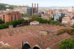 Barcelona View from top of Columbus Statue Stock Photos