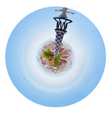 Barcelona view with tower of Park Guell. Little planet - spherical panoramic Barcelona view with tower of Park Guell, Spain isolated on white background Royalty Free Stock Photo