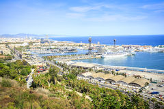 Barcelona viewed from Castle hill, Spain royalty free stock photos
