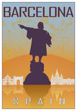 Barcelona vintage poster. In orange and blue textured background with skyiline in white Royalty Free Stock Photos