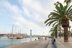 Barcelona Vista port view with coastal road, palms Stock Image