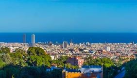 Barcelona vom Hügel stockfoto
