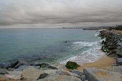 Barcelona von der Küste Stockfoto