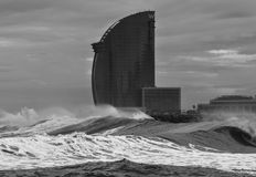 Barcelona W hotel in storm. January 2017 nola de frio olas waves Enero 2017 Royalty Free Stock Photo
