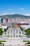 Barcelona. Widok na Weneckim Góruje i Tibidabo Zdjęcia Royalty Free