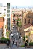 Barcelona widok wzdłuż Av. Muntany ulicy Zdjęcie Royalty Free