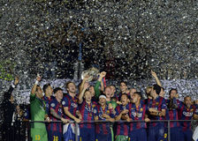 Barcelona wins Champions League Final. Barcelona players pictured during the award ceremony held after the 2015 UEFA Champions League Final between Juventus royalty free stock photo