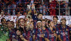 Barcelona wins Champions League Final. Barcelona players pictured during the award ceremony held after the 2015 UEFA Champions League Final between Juventus stock image