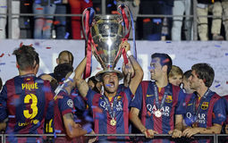 Barcelona wins Champions League Final. Barcelona players pictured during the award ceremony held after the 2015 UEFA Champions League Final between Juventus royalty free stock images