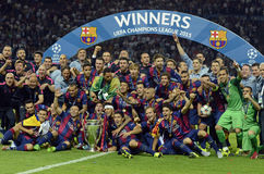 Barcelona wins Champions League Final. Barcelona players pictured during the award ceremony held after the 2015 UEFA Champions League Final between Juventus stock images