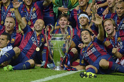 Barcelona wins Champions League Final. Barcelona players pictured during the award ceremony held after the 2015 UEFA Champions League Final between Juventus royalty free stock photos