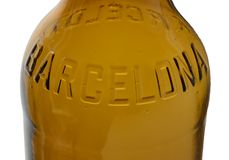 Barcelona written on beer bottle Royalty Free Stock Image