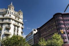Barcelona & x28; Spain& x29;: gebouwen in Avinguda-Diagonaal Stock Foto's