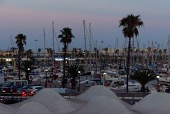 Barcelona yacht marina in early eveing stock photo