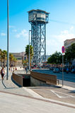 Barcelonas flyg- cableway, Spanien Arkivbilder