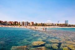 Barcelonas strand. Arkivbild