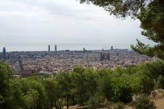 BARCELONE, ESPAGNE - 30 août 2017 : grand-angulaire de Barcelone a tiré de stupéfier de offre de carmel de soutes panoramique Photographie stock