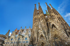 Barcelone, Espagne - 18 avril 2016 : Cathédrale principale de façade de La Sagrada Familia Image stock