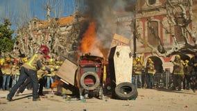 Barcelone, Espagne, 12 20 2018 : Les sapeurs-pompiers frappent contre la violation des droits de travailleurs banque de vidéos