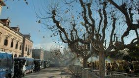 Barcelone, Espagne, 12 20 2018 : Les sapeurs-pompiers frappent contre la violation des droits de travailleurs clips vidéos