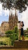 BARCELONE, ESPAGNE, SEPTEMBER-15 : le bâtiment le plus connu créé Images libres de droits