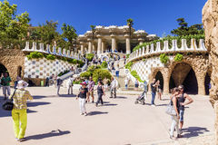 BARCELONE, ESPAGNE - 17 SEPTEMBRE 2015 : Entrée chez le Parc Gue images libres de droits
