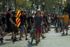BARCELONE, ESPAGNE - 11 SEPTEMBRE 2014 : Manifestation d'Antifa Image libre de droits