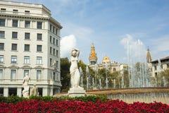 Barcelone, Espagne - 26 septembre 2016 : Vue des statues placées à photographie stock