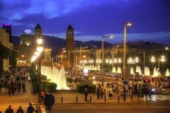 Barcelone Fontaines de chant de Montjuic Images stock